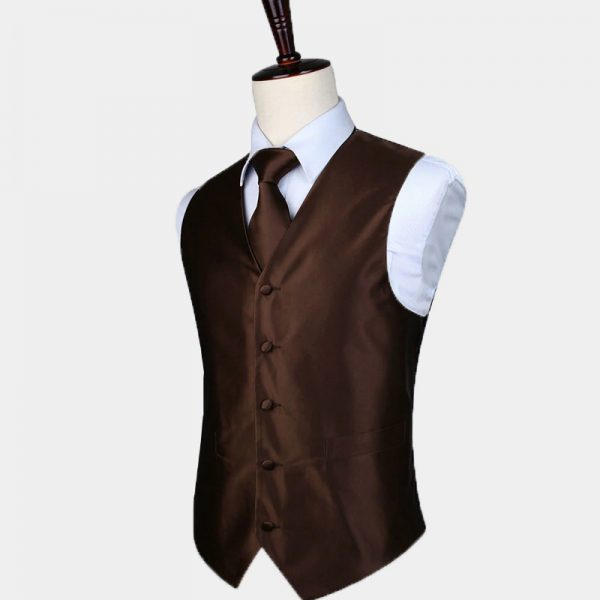 Brown Vest And Tie Set