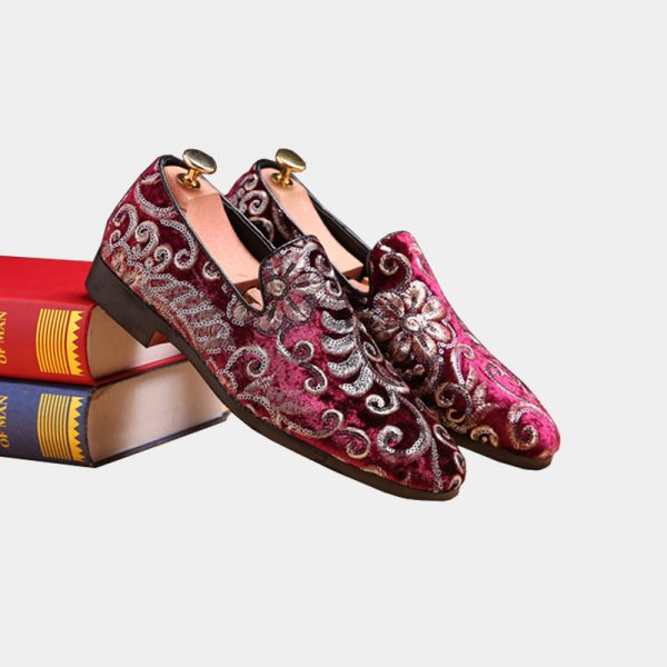 Burgundy And Gold Embroidered Floral Velvet Loafers