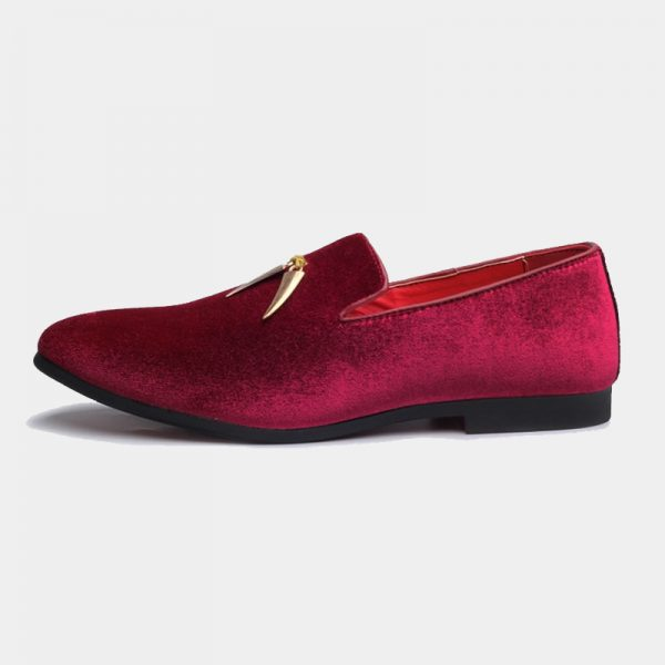 Burgundy And Gold Suede Tassels Loafers