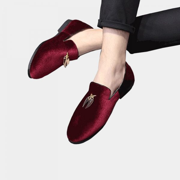 Burgundy Suede Loafers With Gold Tassels