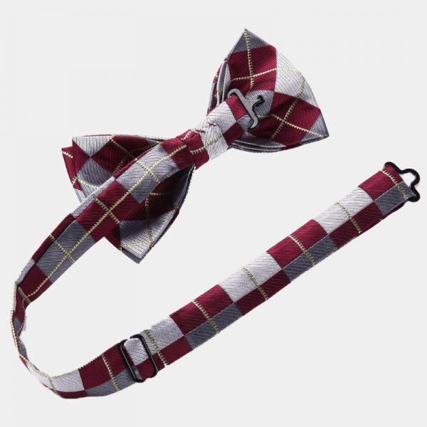 Burgundy Plaid Bow Tie Set from Gentlemansguru.com