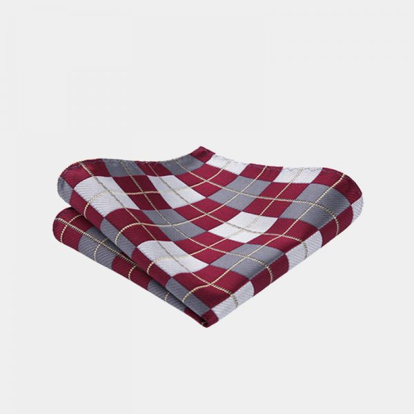 Burgundy Plaid Pocket Square from Gentlemansguru.com