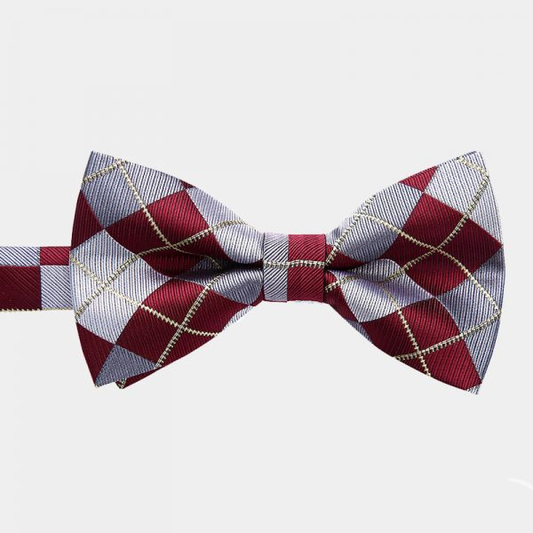Burgundy Plaid Pre-Tie Bow Tie from Gentlemansguru.com