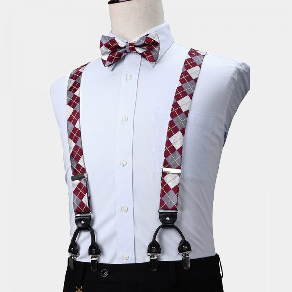 Burgundy Plaid Suspenders And Bow Tie Set from Gentlemansguru.com