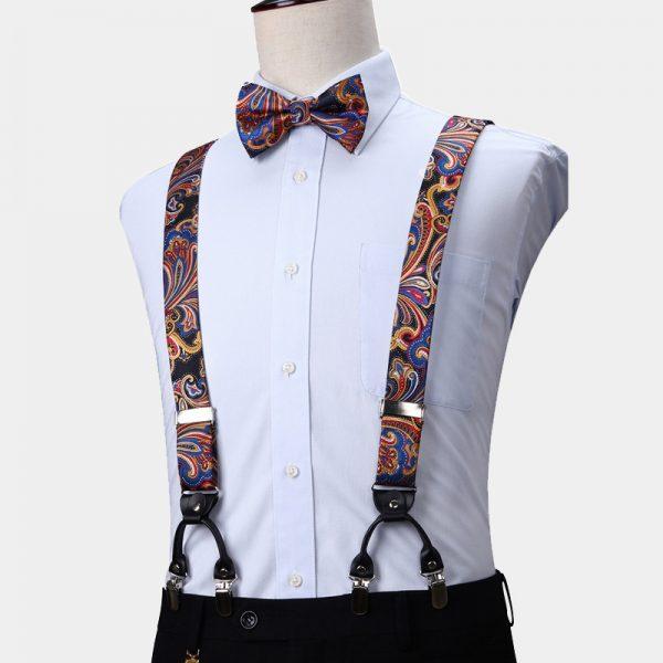 Colorful Paisley Suspenders And Bow Tie Set from Gentlemansguru.com