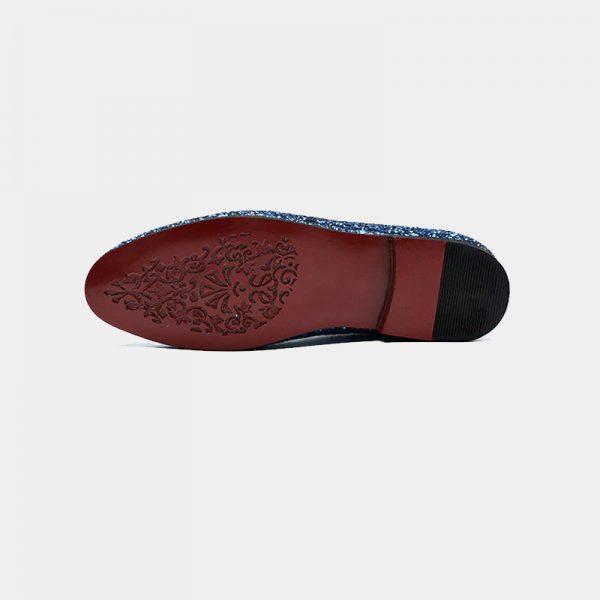 Glitter Blue Mens Loafers