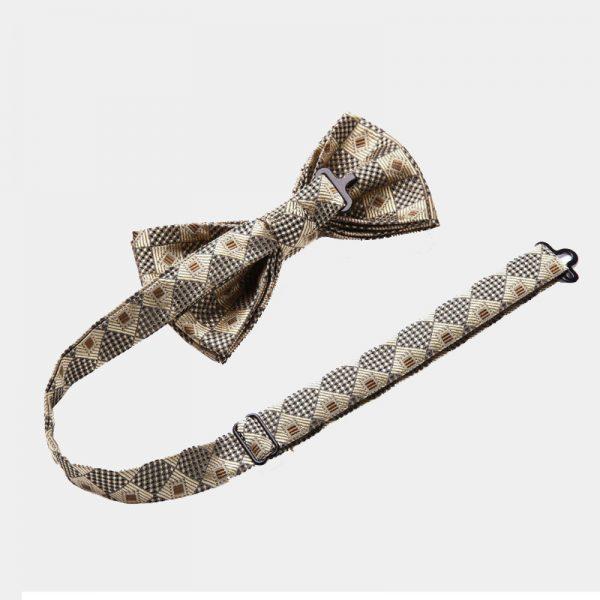 Gold Checkered Bow Tie and Suspenders Set from Gentlemansguru.com