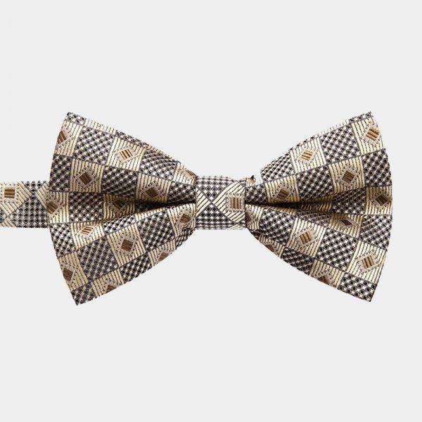 Gold Chekered Pre-Tie Bow Tie from Gentlemansguru.com