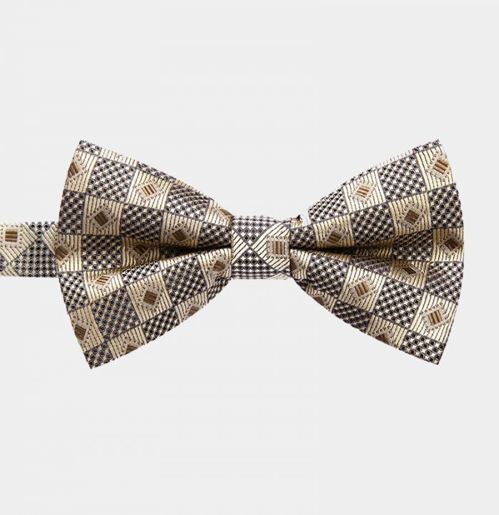 Gold Chekered Pre-Tie Bow Tie from Gentlemansguru.com