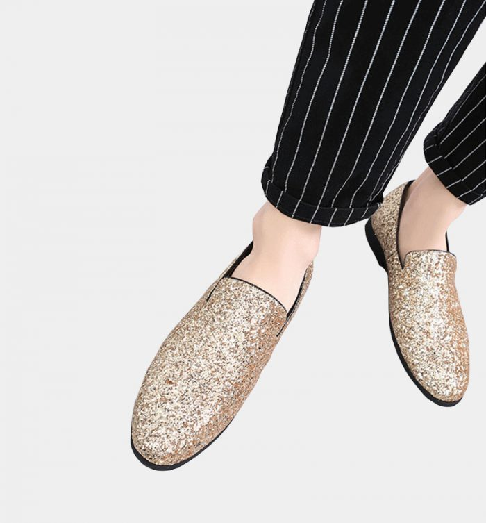 Gold Glitter Penny Loafers