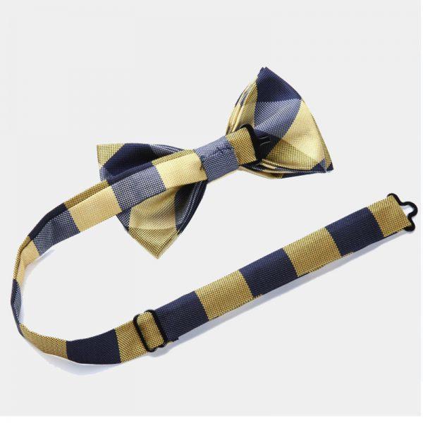 Gold Plaid Bow Tie Set from Gentlemansguru.com