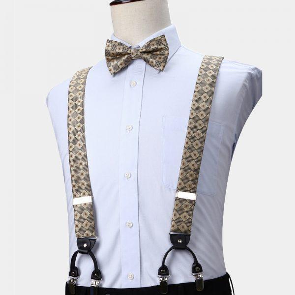 Gold Plaid Bow Tie and Suspenders from Gentlemansguru.com