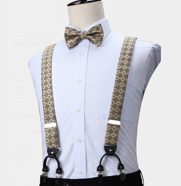 Gold Plaid Bow Tie and Suspenders from Gentlemansguru.com
