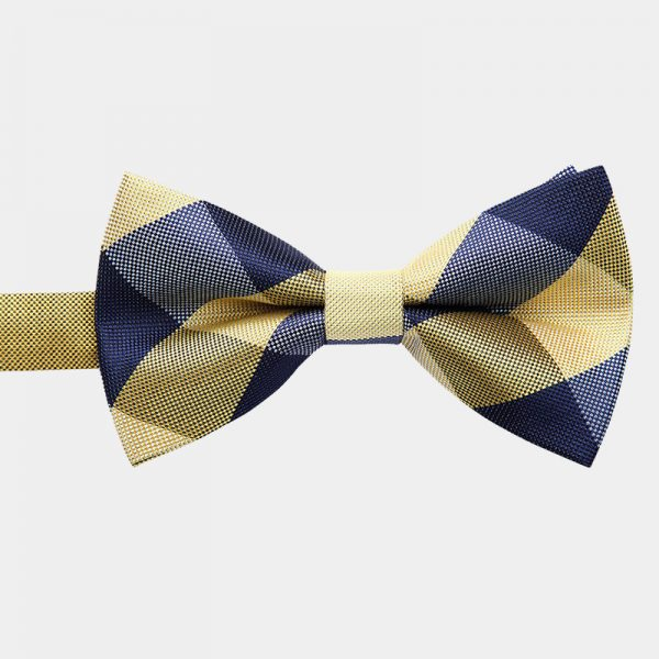 Gold Plaid Pre-Tie Bow Tie from Gentlemansguru.com