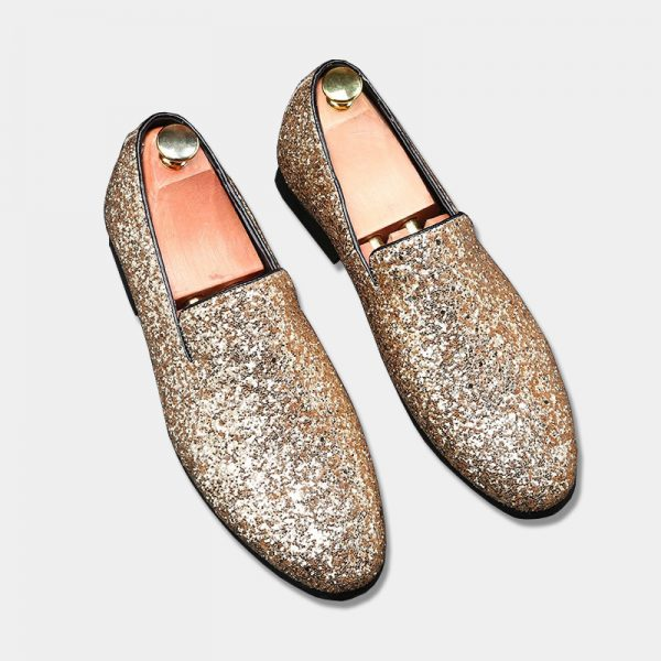 Gold Rhinestone Glitters Loafers for Men
