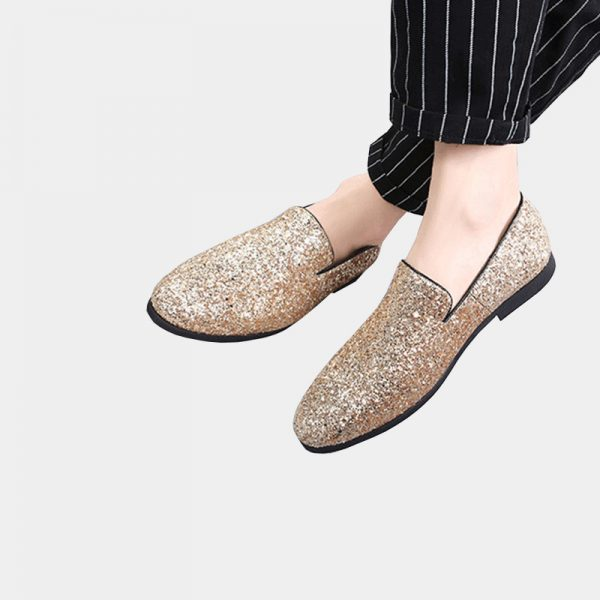 Gold Sparkly Glitter Loafers Mens