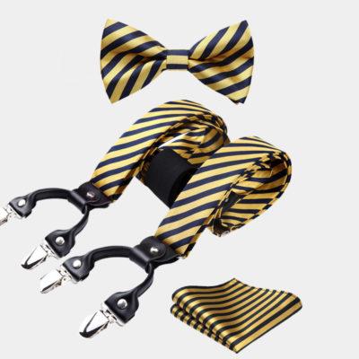 Gold Striped Bow Tie And Suspenders Set from Gentlemansguru.com