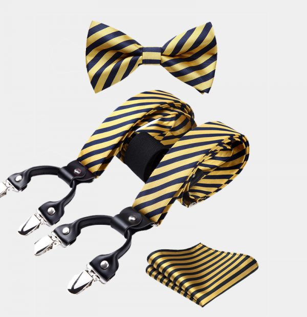 Gold Striped Bow Tie And Suspenders Set from Gentlemansguru.com