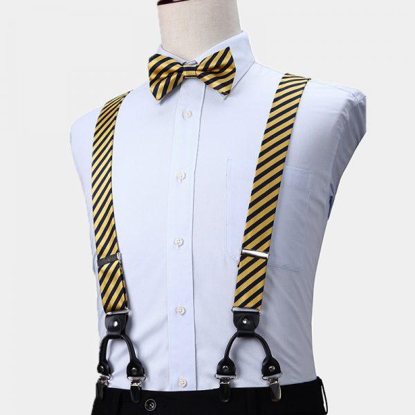 Gold Striped Suspenders And Bow Tie Set from Gentlemansguru.com