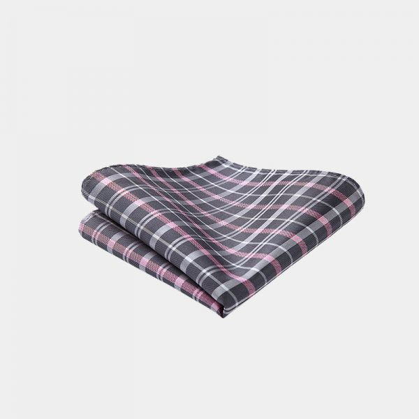 Gray-Pink Plaid Pocket Square from Gentlemansguru.com