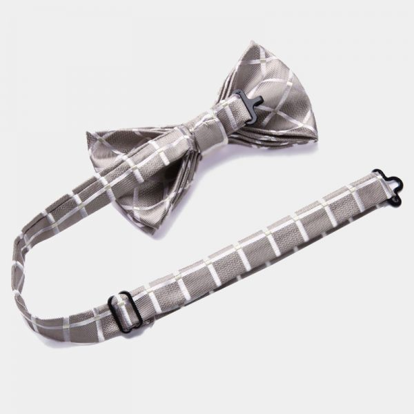 Ivory Plaid Pre Tied Bow Tie Set