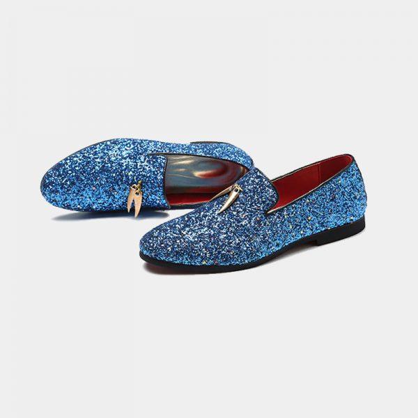 Light Blue Glitter Loafers Mens