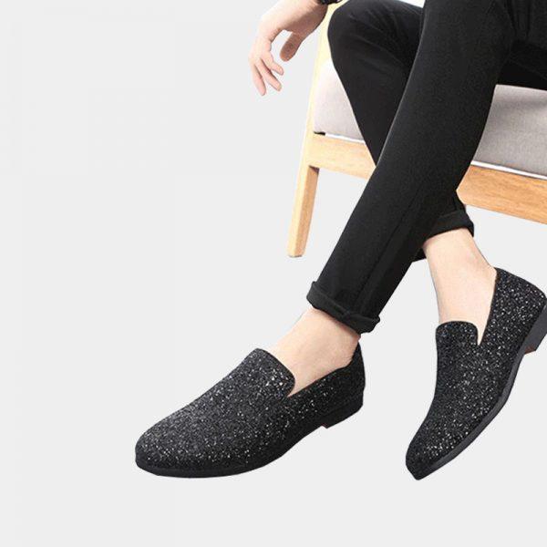 Mens Black Glitter Dress Shoes Loafers