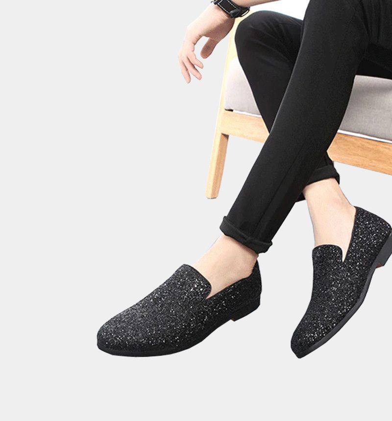 Mens Black Glitter Dress Shoes Loafers