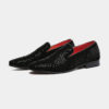 Mens Black Rhinestone Loafers