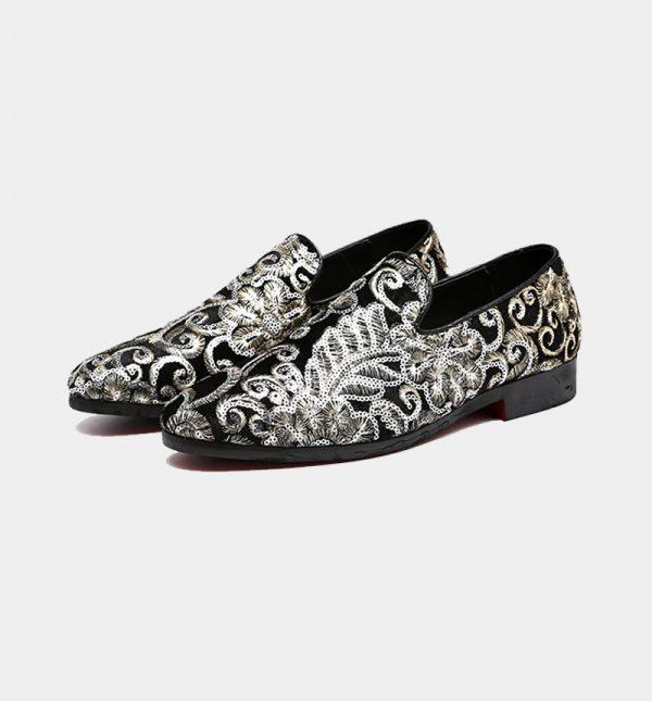 Mens Black Velvet Embroidered Loafers
