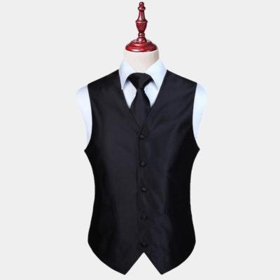 Mens Black Vest And Tie Set