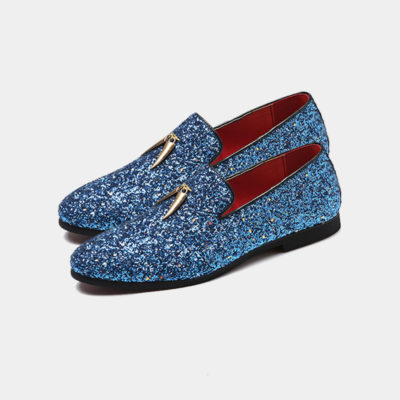 Mens Blue Glitter Loafers