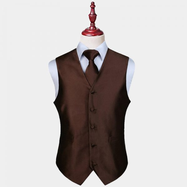 Mens Brown Vest And Tie Set