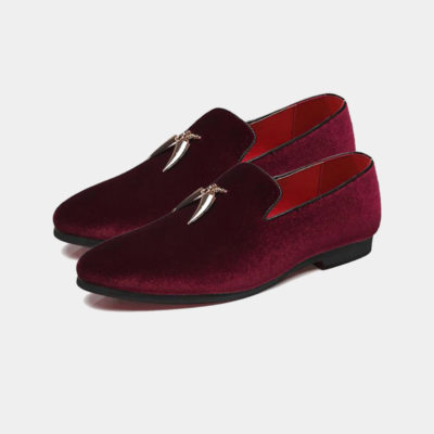 Mens Burgundy Suede Loafers With Gold Tassels