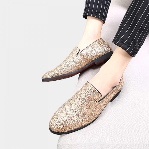 Mens Gold Glitter Dress Shoes Loafers