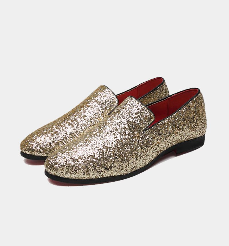 Mens Gold Glitter Loafers
