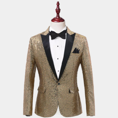 Mens Gold Sequins Tiuxedo Jacket from Gentlemansguru.com