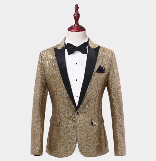 Mens Gold Sequins Tiuxedo Jacket from Gentlemansguru.com