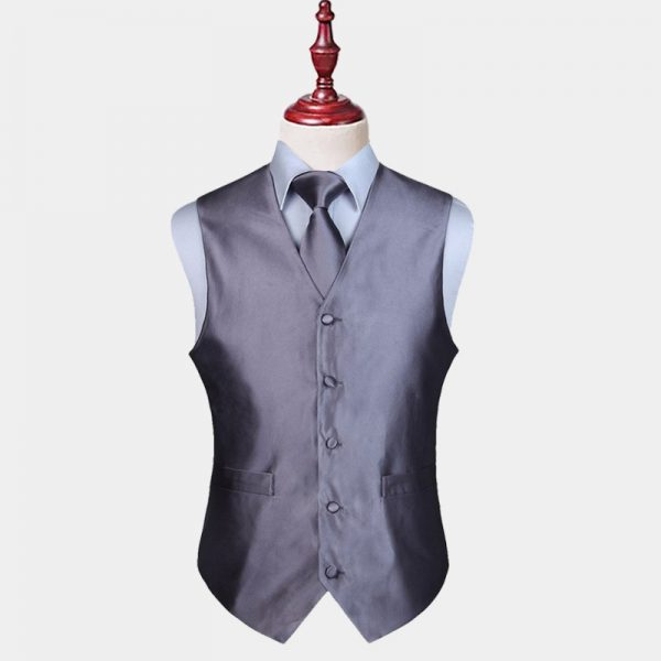Mens Gray Vest And Tie Set