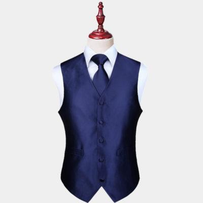 Mens Navy Blue Vest And Tie Set