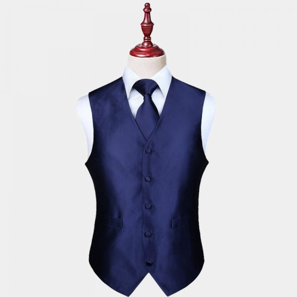 Mens Navy Blue Vest And Tie Set