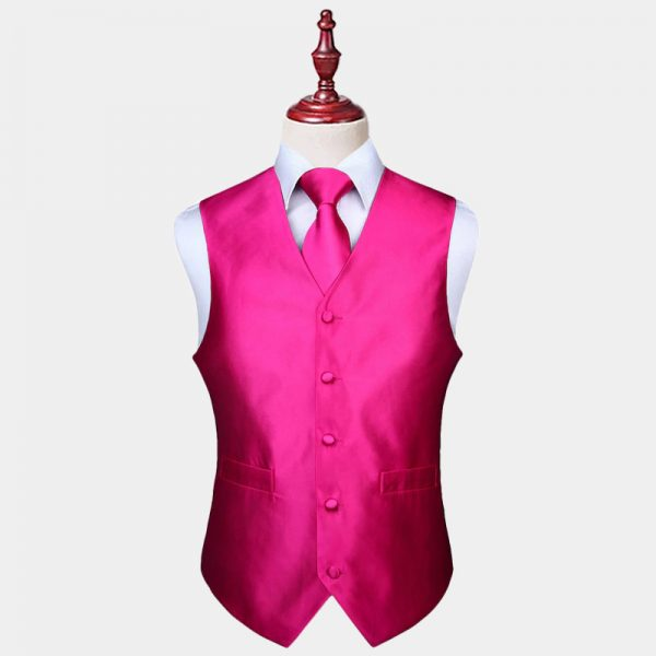Mens Pink Vest And Tie Set