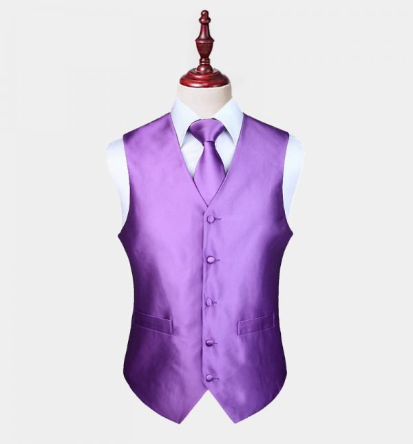 Mens Purple Vest And Tie Set