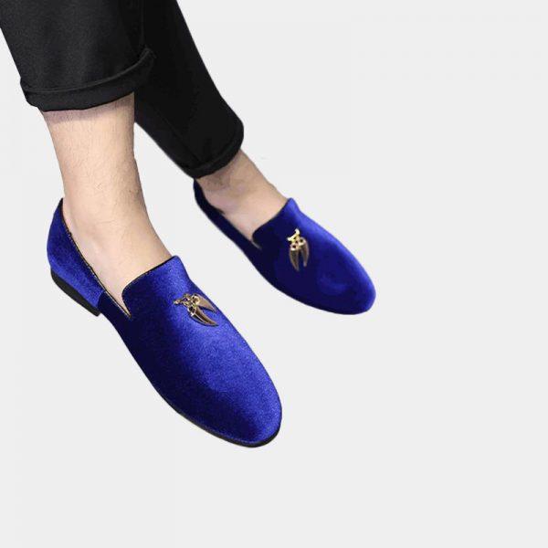 Mens Royal Blue Suede Dress Shoes