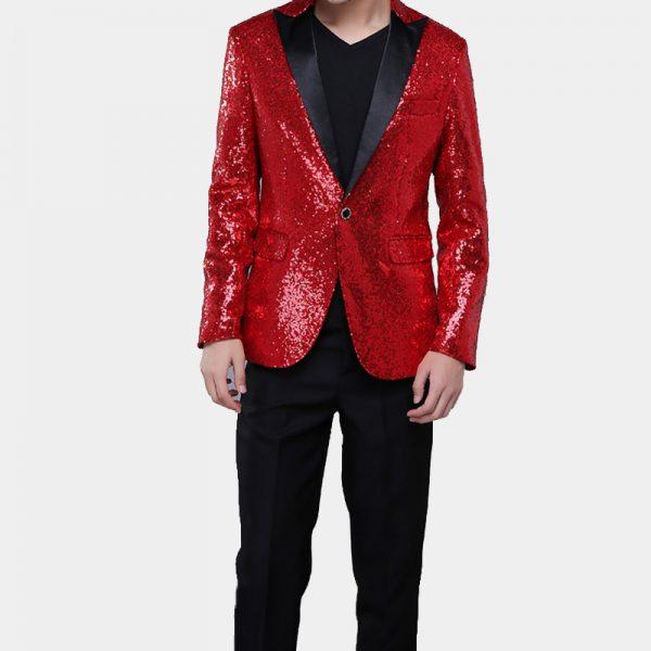 Mens Red Sequins Tuxedo Jacket With Black Peak Lapel Wedding-Prom-Homecoming from Gentlemansguru.com