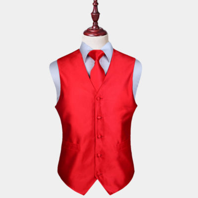 Mens Red Vest And Tie Set