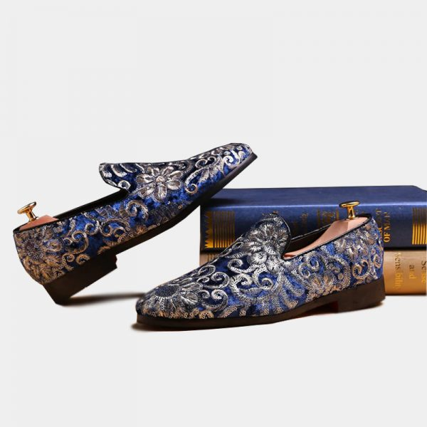 Mens Royal Blue And Gold Velvet Embroidered Loafers