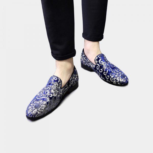 Mens Royal Blue Velvet Floral Embroidered Loafers