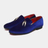 Mens Royal Blue Suede Loafers With Gold Tassels