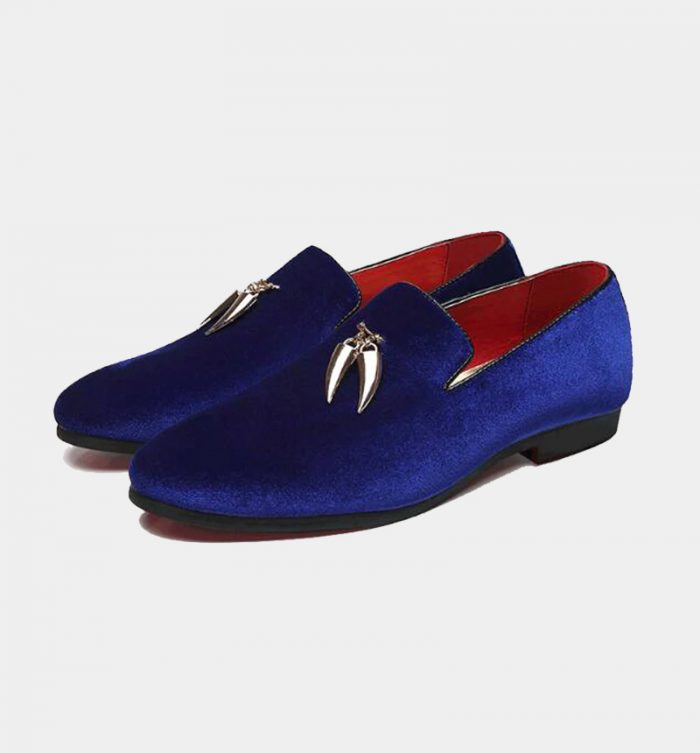 Mens-Blue-Velvet-Loafers-Shoes-With-Gold-Tassels-from-Gentlemansguru.com